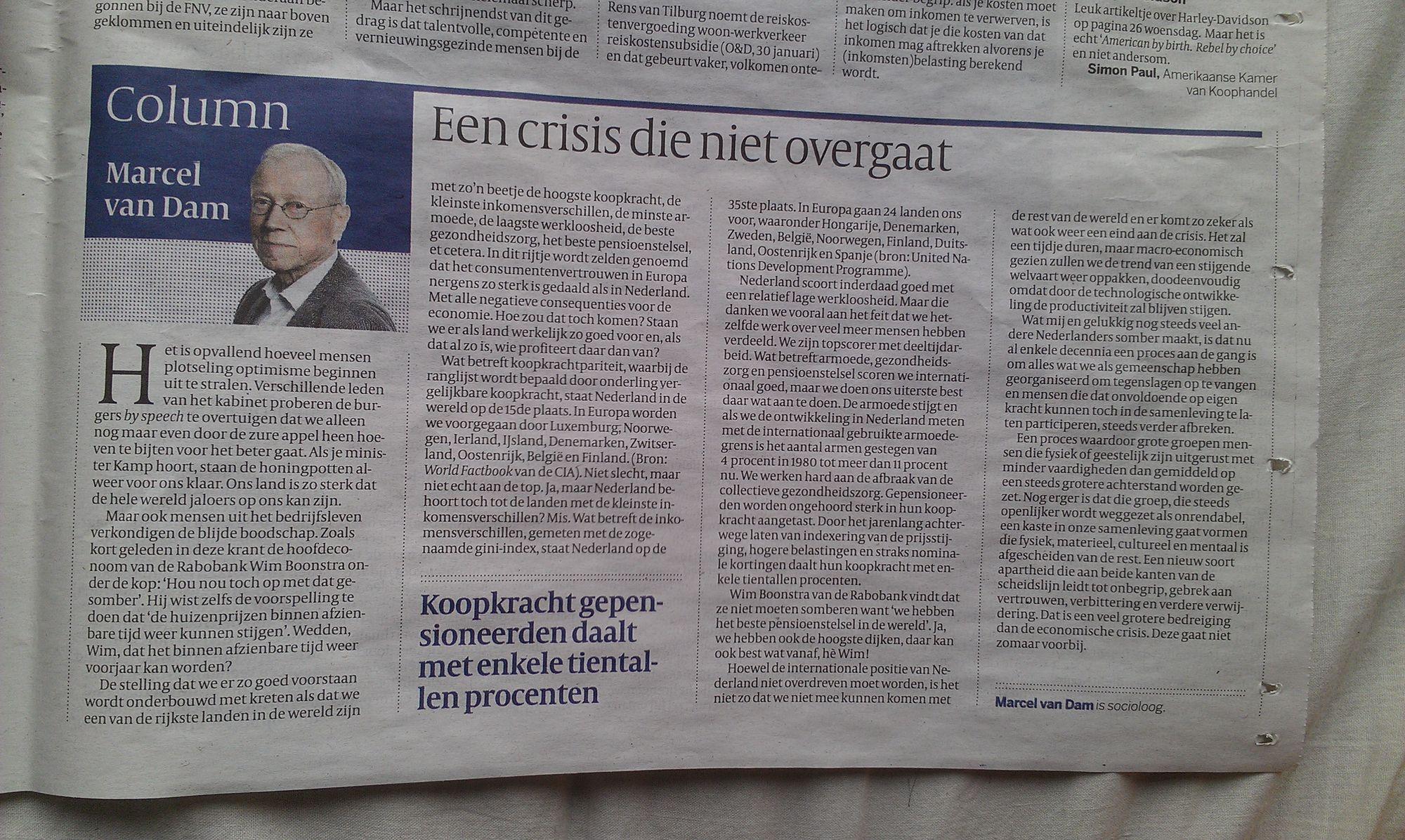 Een crisis die niet overgaat (opinie, Volkskrant 31/1/13)