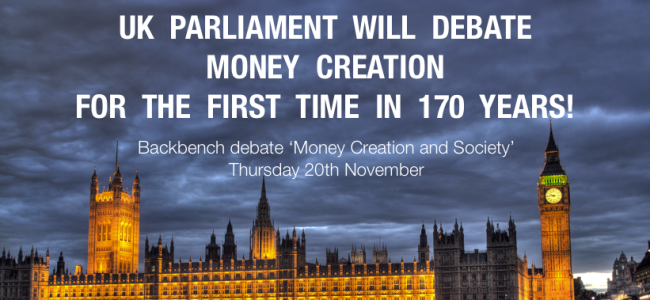 Britse parlement houdt debat over geldcreatie!